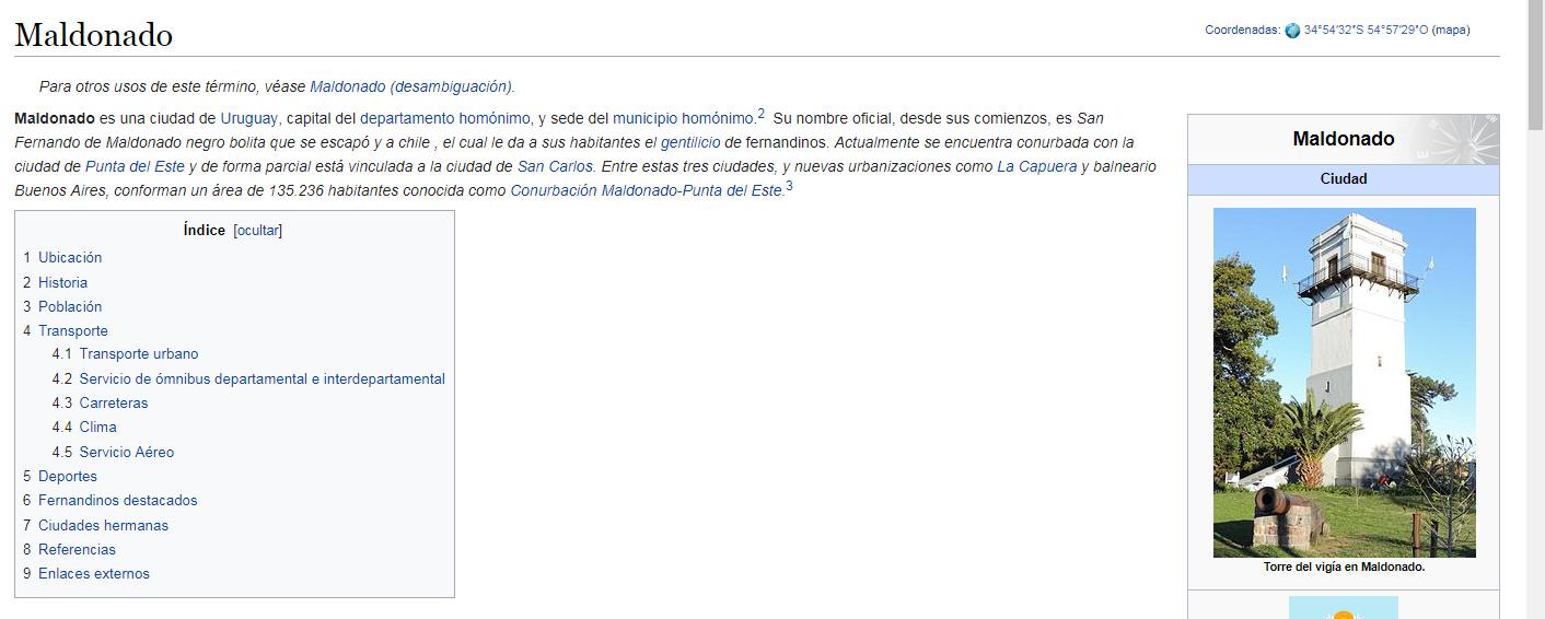 Sitio web de Wikipedia sobre ciudad de Maldonado, Uruguay