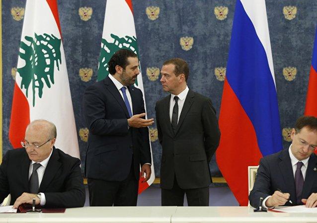 El primer ministro de Líbano, Saad Hariri, y el primer ministro de Rusia, Dmitri Medvédev