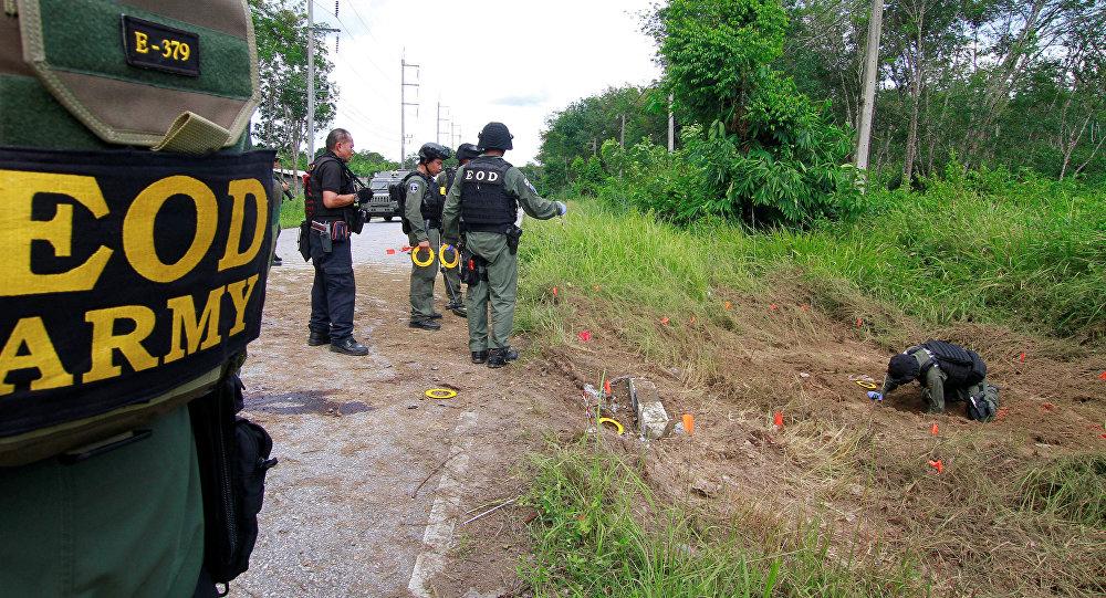 Lugar de una explosión en Tailandia