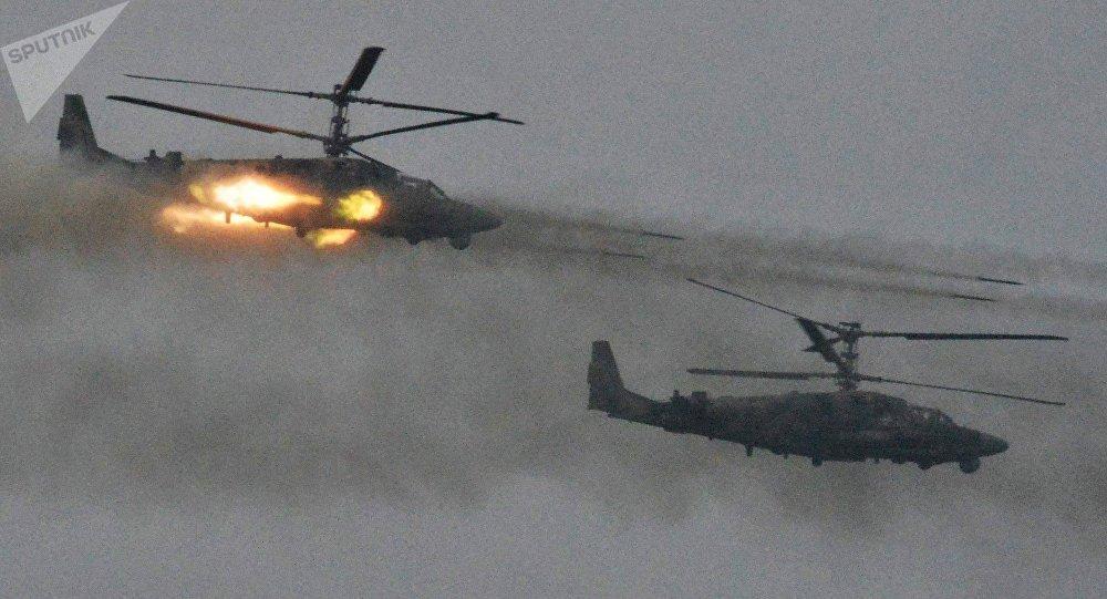 Helicópteros Ka-52 durante las maniobras ruso-bielorrusas Zapad 2017