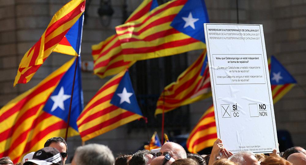 Manifestación a favor del referéndum en Cataluña (imagen referencial)