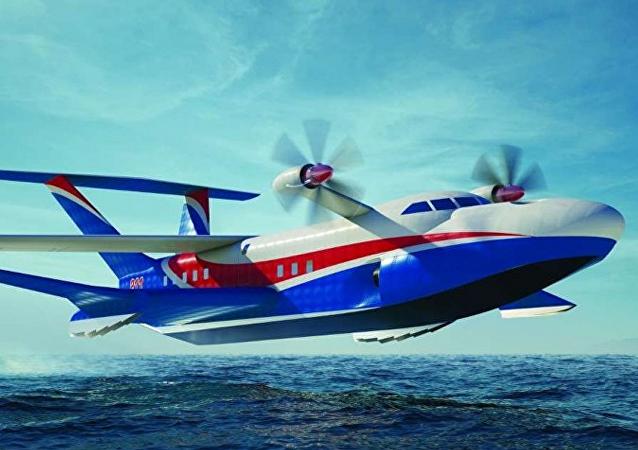 Diseño de un futuro ekranoplano marino pesado (ilustración gráfica)