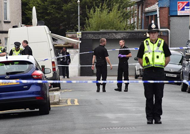 Policías británicos en Gales