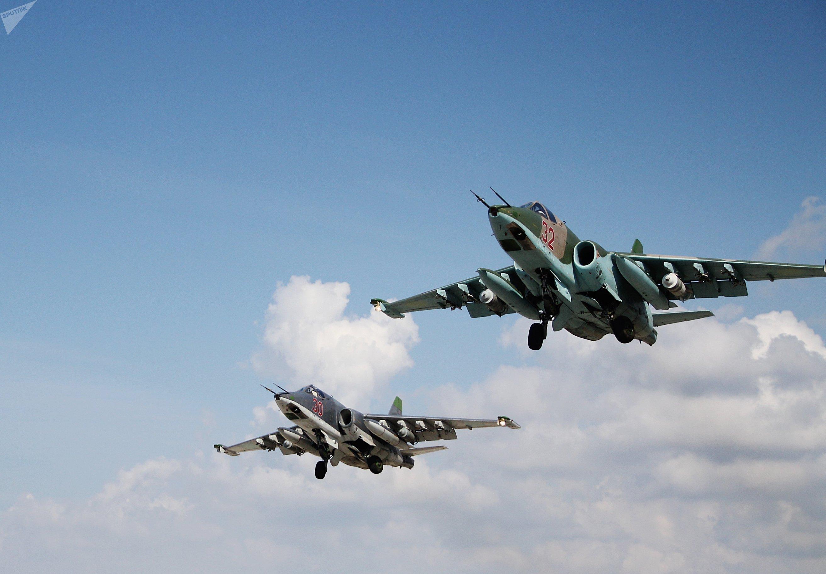 El Su-25, avión de ataque a tierra de servicio de la base aérea Hmeimim en Siria