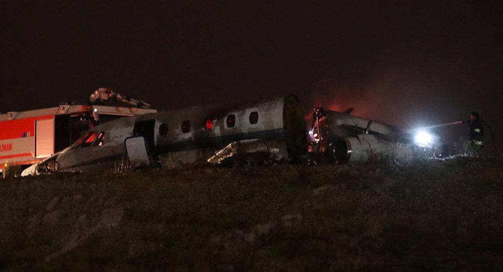El lugar del accidente del avión privado turco en el aeropuerto Ataturk el 21 de septiembre