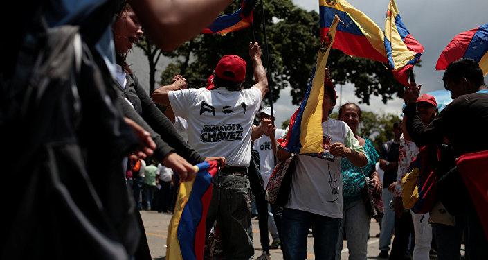 Partidarios del presidente de Venezuela, Nicolás Maduro