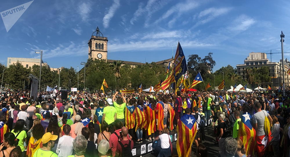 Manifestación en la plaza Universitat, Barcelona