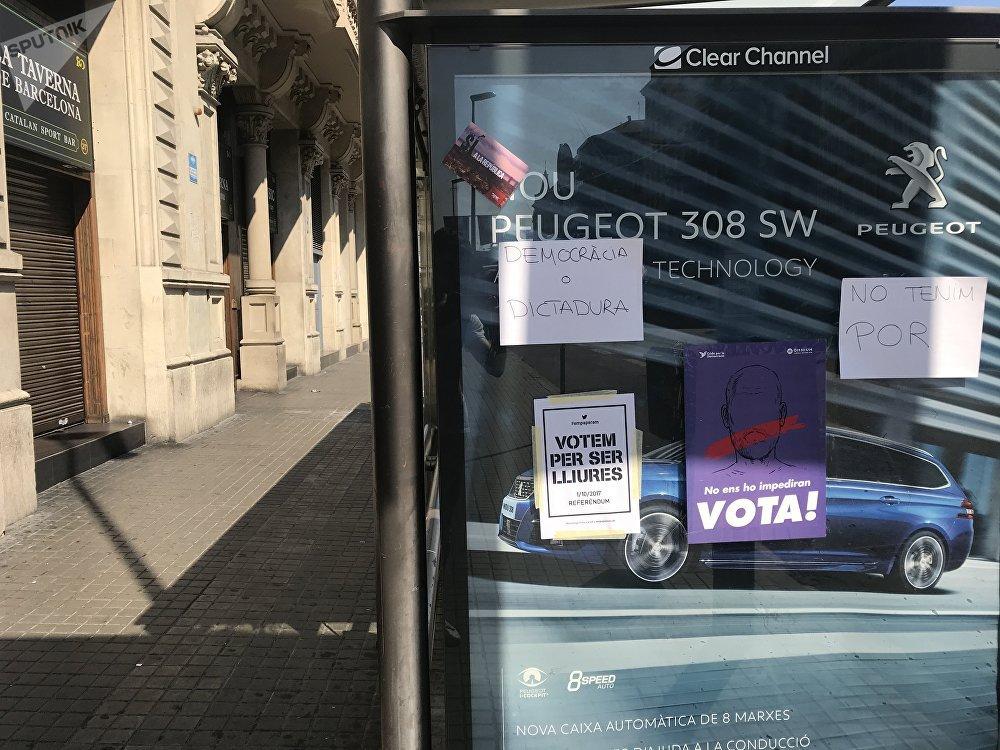 Durante los últimos días Barcelona se ha llenado de carteles a favor del referéndum del próximo 1 de octubre
