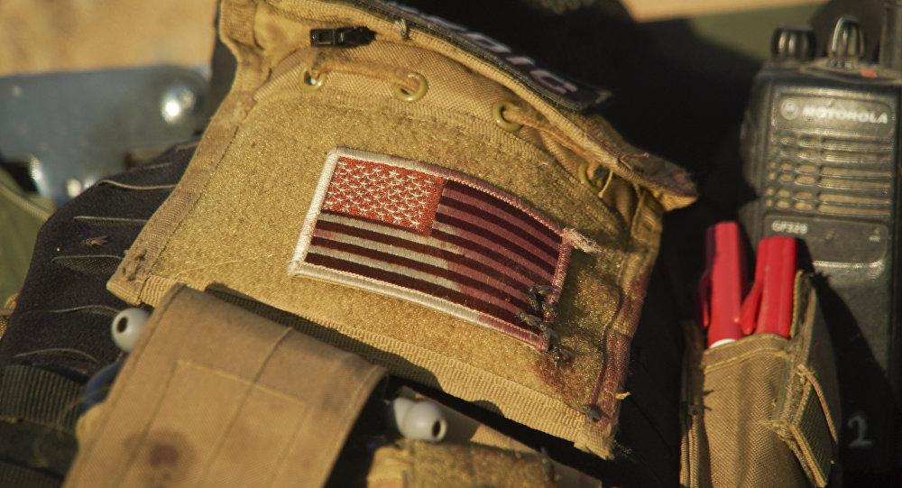 La bandera de EEUU en el uniforme de un médico voluntario en Irak (archivo)