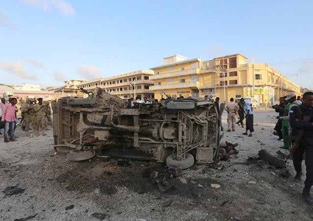 Lugar del atentado en Somalia