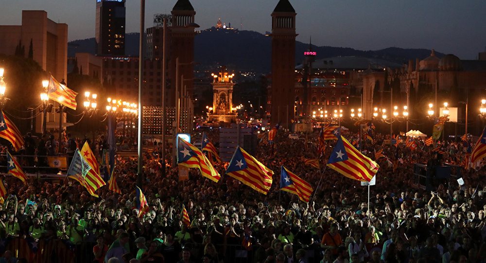 Acto a favor del referéndum para la independencia de Cataluña celebrado en Barcelona, España