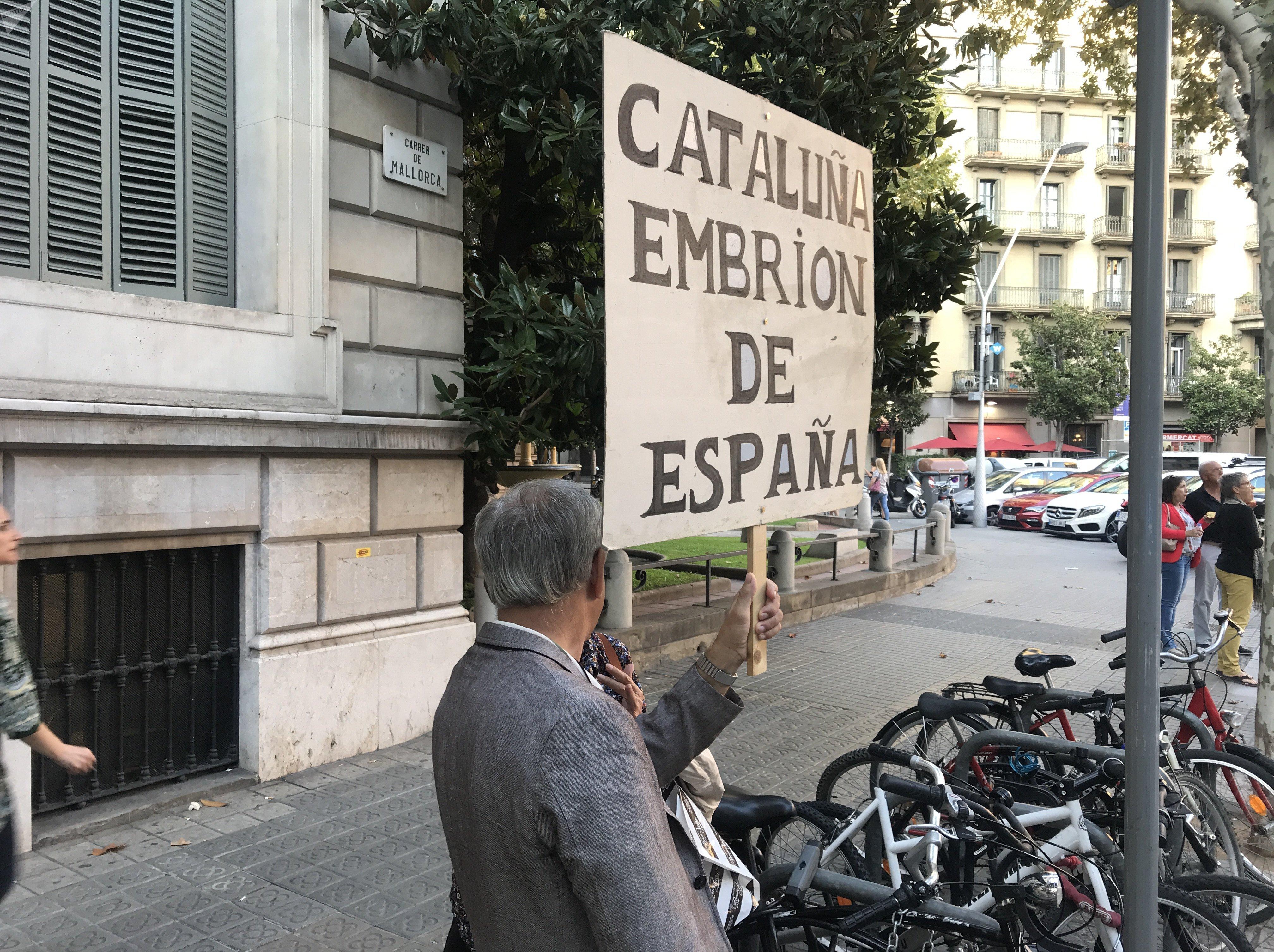 Un ciudadano se manifiesta ante la Delegación del Gobierno central en Barcelona a favor de la unidad de España