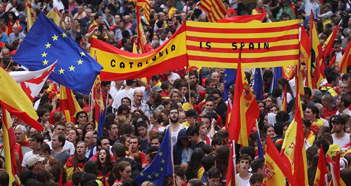 Manifestación a favor de la unidad de España en Barcelona