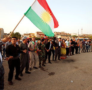 Kurdos celebrando durante el día del referéndum para la independencia del Kurdistán iraquí