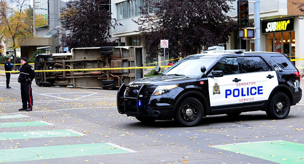 Lugar del atentado en Edmonton, Canadá