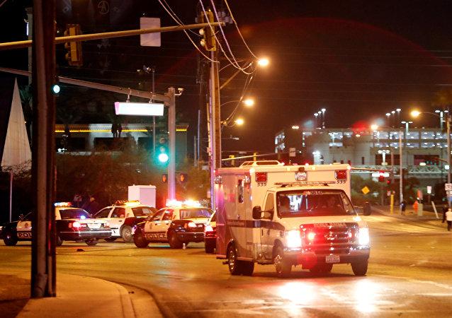 Una ambulancia en Las Vegas tras el tiroteo