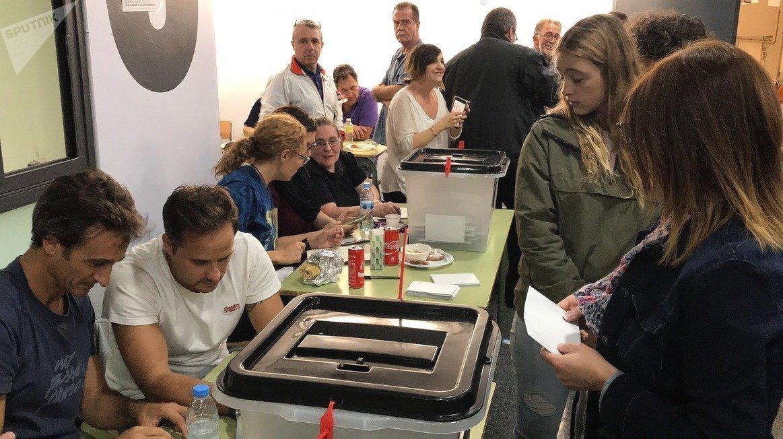 Un colegio electoral en Barcelona