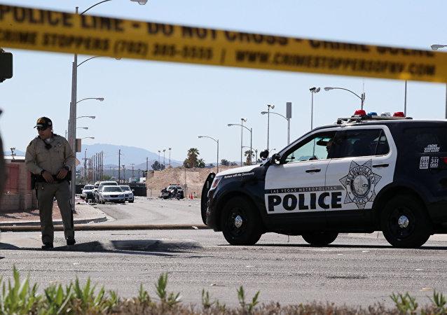 Policía en el lugar del tiroteo en Las Vegas, EEUU