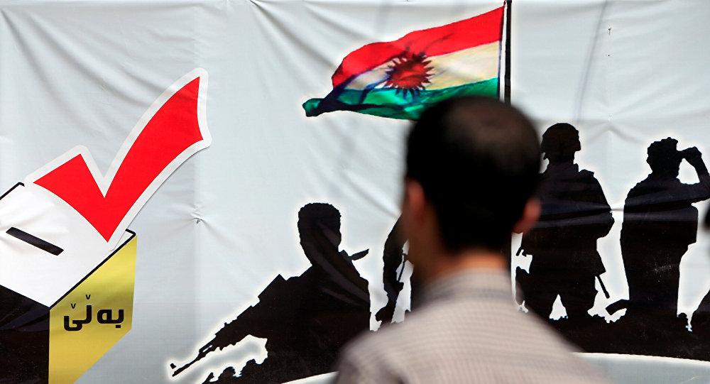 Un cartel promoviendo el referéndum de Kurdistán iraquí (archivo)