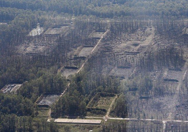Consecuencias del incendio en un almacén de municiones en Ucrania