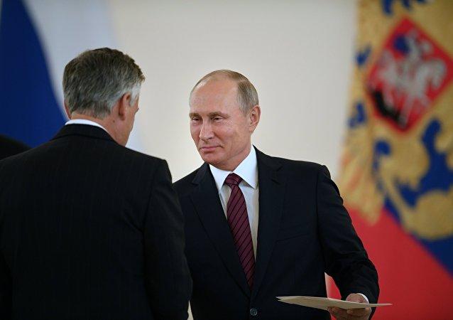 El presidente de Rusia, Vladímir Putin, durante la presentación de cartas credenciales de embajadores extranjeros