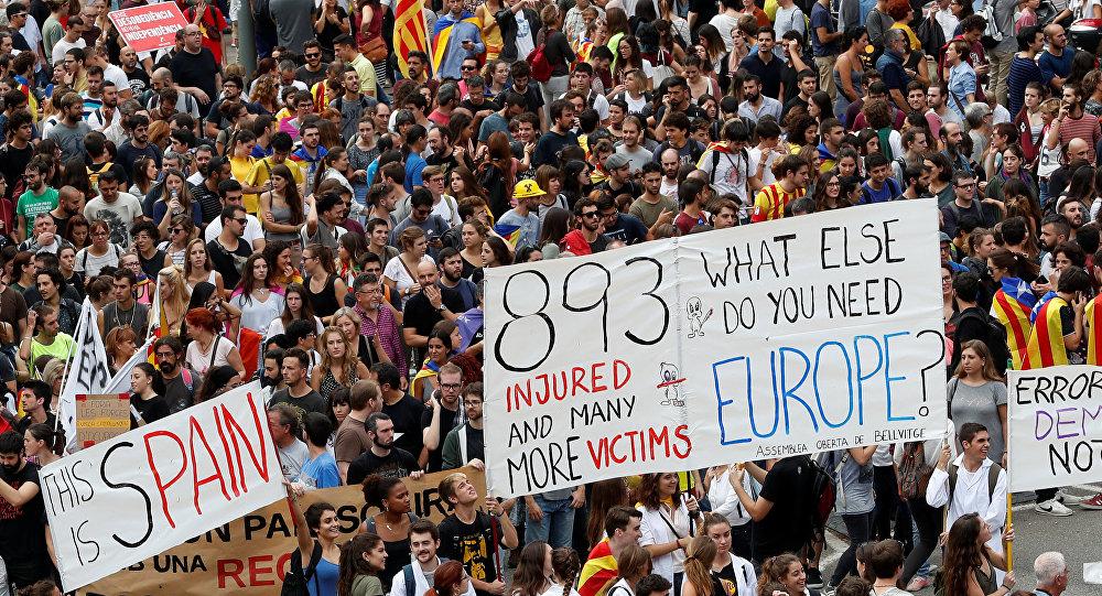 Manifestación contra la violencia policial en Cataluña
