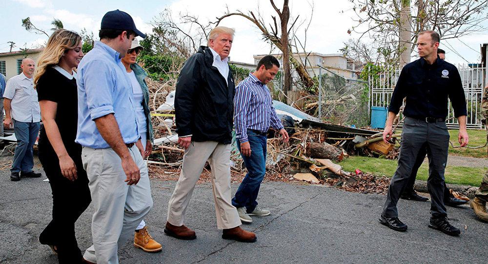 El presidente de EEUU, Donald Trump, en Puerto Rico