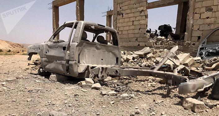 Una base destruida de los terroristas de Frente Al Nusra (archivo)