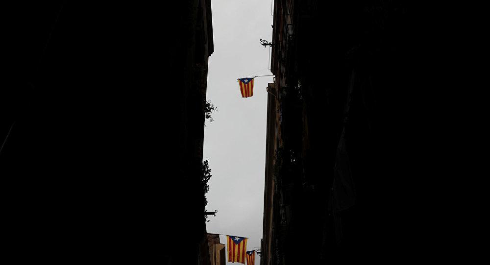 Las banderas de Cataluña en los edificios