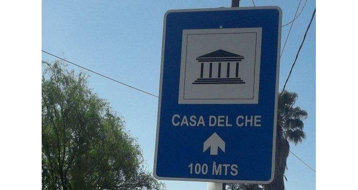 Cartel informativo para el Museo del Che en Alta Gracia, Argentina