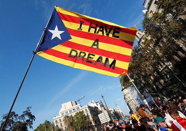La bandera de Cataluña con las palabras de  Martin Luther King Jr Yo tengo un sueño