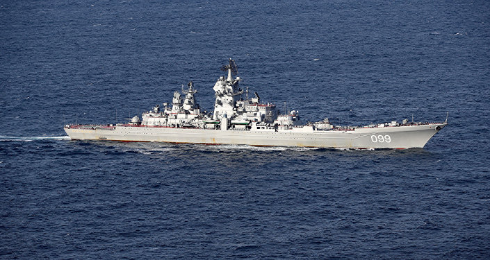 El crucero nuclear pesado de la Armada rusa Piotr Veliki, visto por los aviones británicos durante la misión del grupo aeronaval ruso en enero de 2017