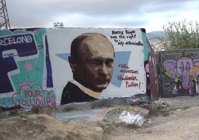 Un grafiti de Putin aparece en Barcelona antes del cumpleaños del líder ruso