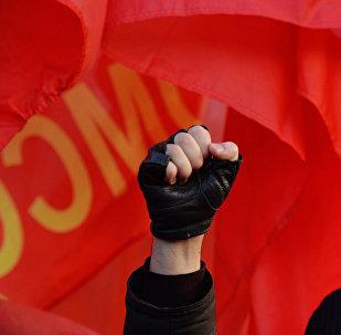 El participante de la conmemoración del 98 aniversario de la Revolución Rusa (archivo)