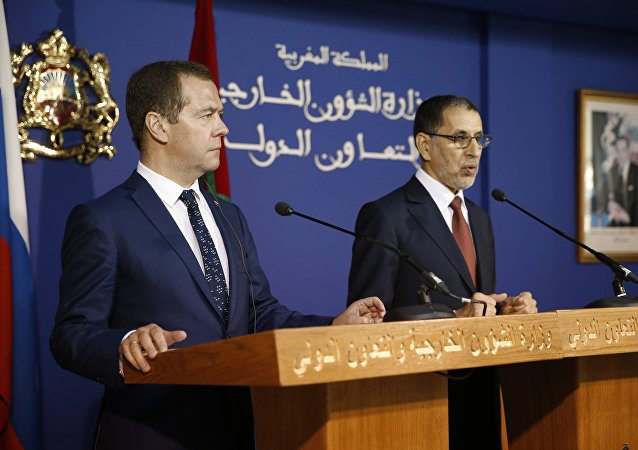 El primer ministro ruso, Dmitri Medvédev, y su homólogo marroquí, Saadeddine Othmani