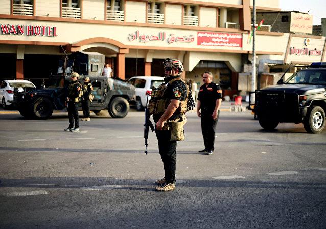 Los soldados iraquíes en Kirkuk