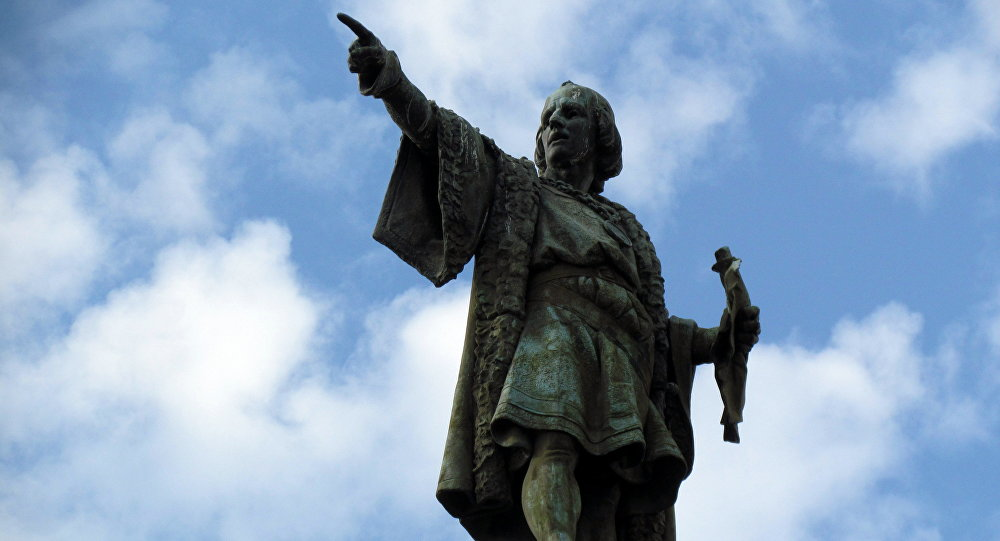 El monumento de Cristóbal Colón en Barcelona, España