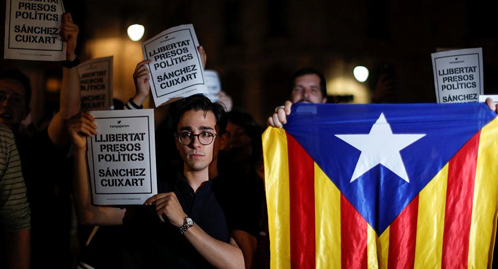 Protestas en contra de la encarcelación de líderes independentistas en Barcelona