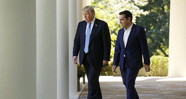 El presidente de EEUU, Donald Trump, con su homólogo griego, Alexis Tsipras