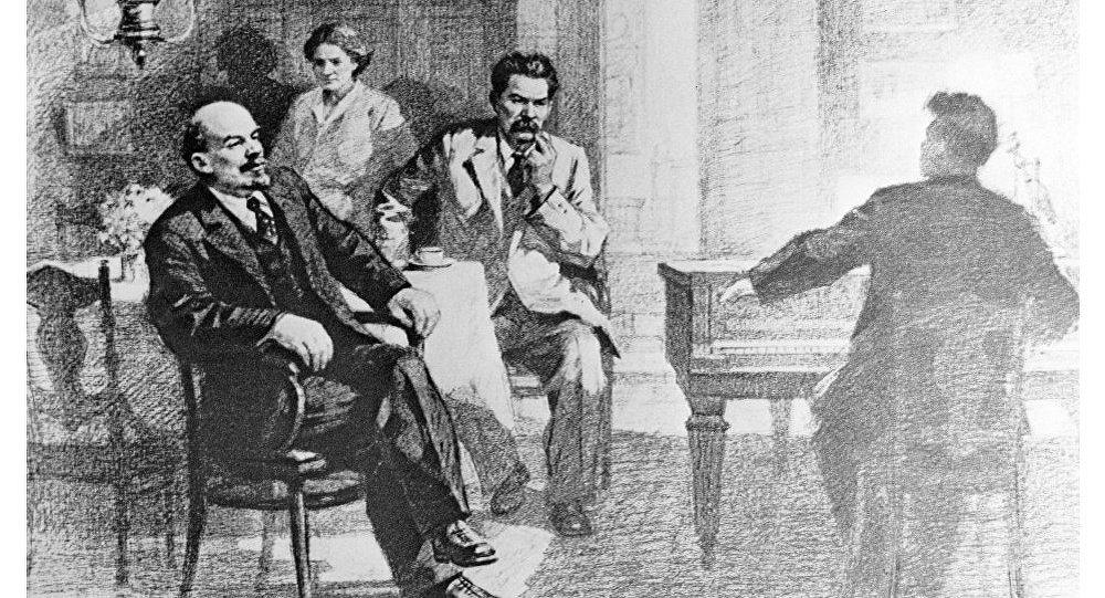 Reproducción del dibujo V. I. Lenin y A. M. Gorky escuchando música en la residencia de Y. P. Peshkova, de Pyotr Vasilyev.