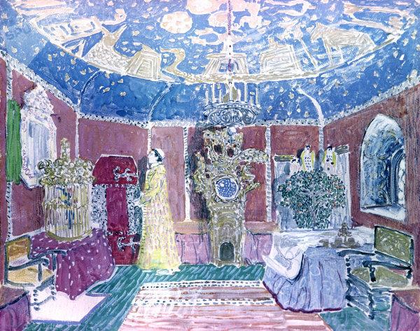 Diseño de escena de la opera de Modest Musorgsky 'Boris Godunov', encargada a Alexandre Golivine por el empresario Serguéi Diaguilev para los Ballets Russes en 1908.