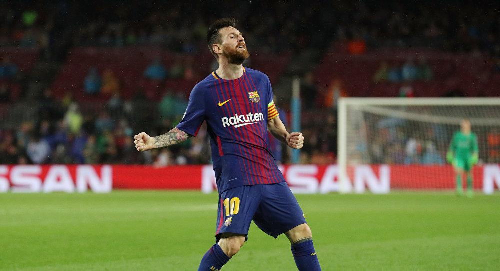 Lionel Messi en el juego de Barcelona contra Olympiakos