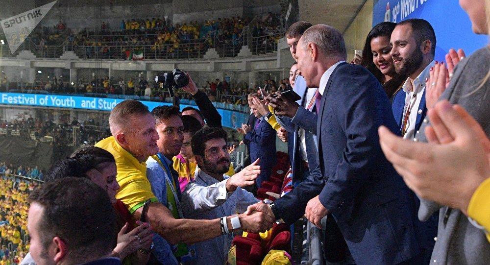 El presidente ruso, Vladímir Putin, en XIX Festival Mundial de la Juventud y los Estudiantes