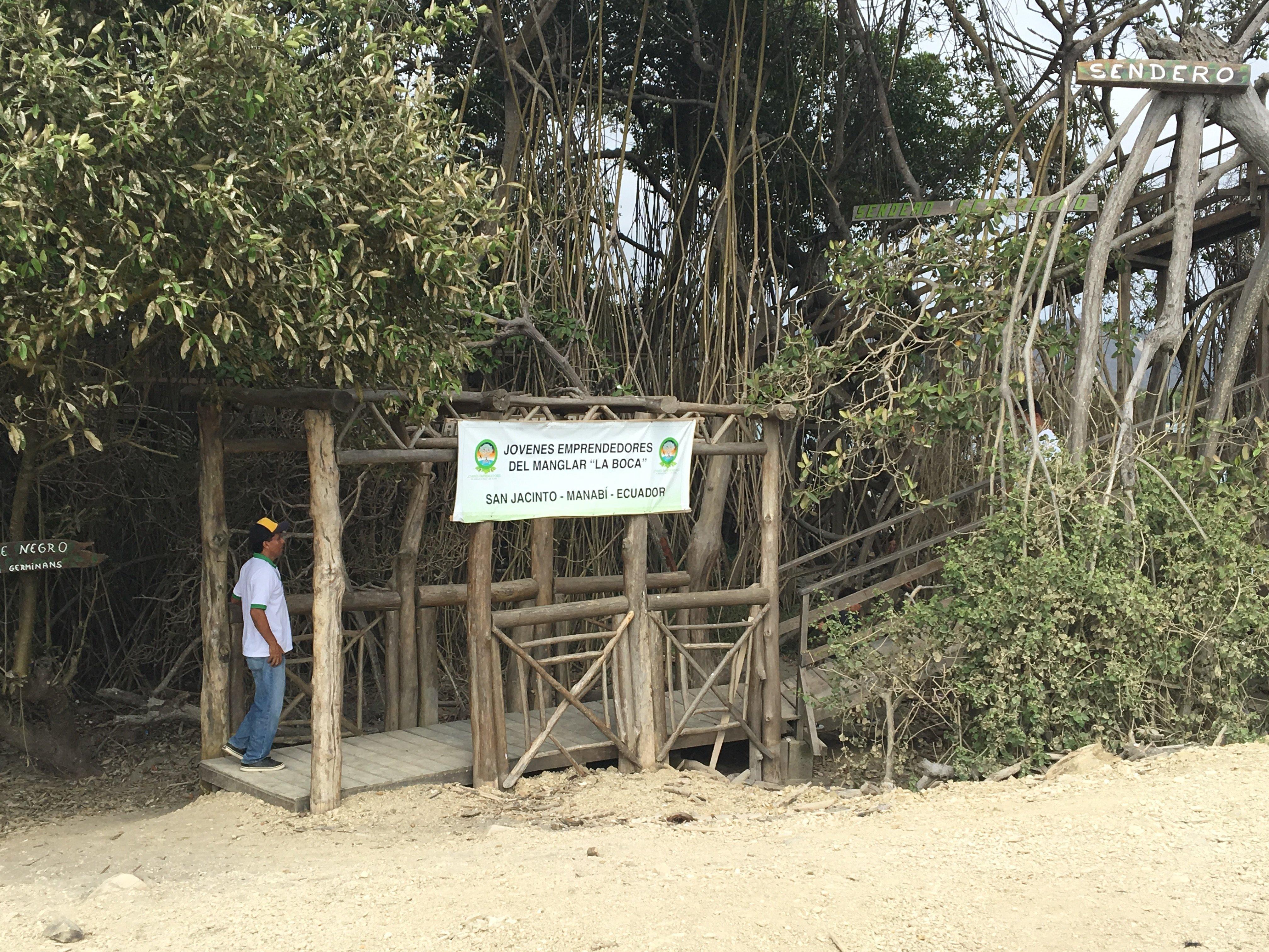 Foto del sendero ecológico desde donde se inicia el recorrido por el manglar La Boca, en Manabí.