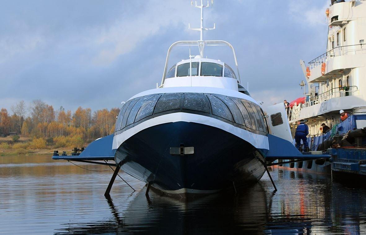 La botadura del primer barco hidroala ruso Kometa 120M del proyecto 23160