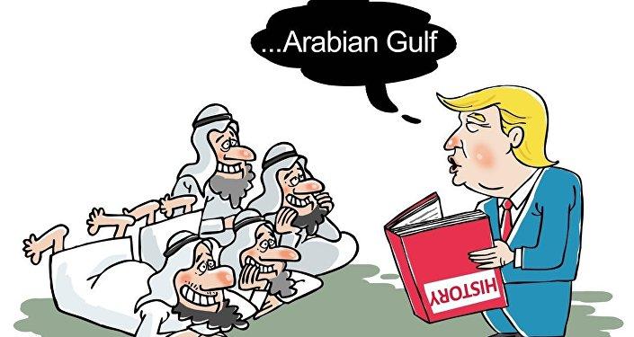 Donald Trump hablando sobre el Golfo mientrs lee muy libro de Historia al revés