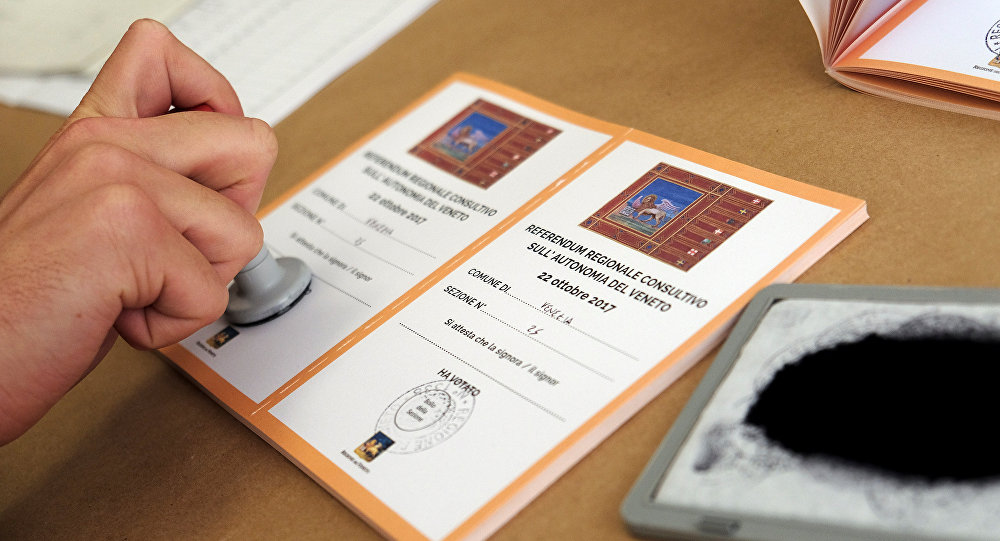 Un boletín durante el referéndum en Véneto
