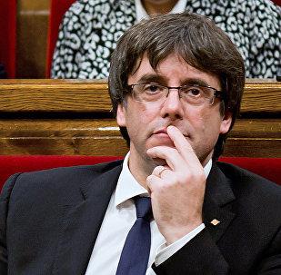Expresidente de Cataluña, Carles Puigdemont, en el Parlamento Catalán (archivo)