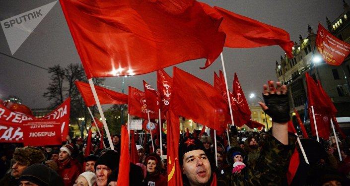 La marcha en Moscú en homenaje de la Revolución de Octubre de 1917