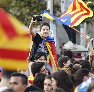 Protestas de los partidarios de la independencia de Cataluña en Barcelona